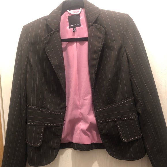 The Limited Jackets & Blazers - The Limited blazer Brown with Pink stripes